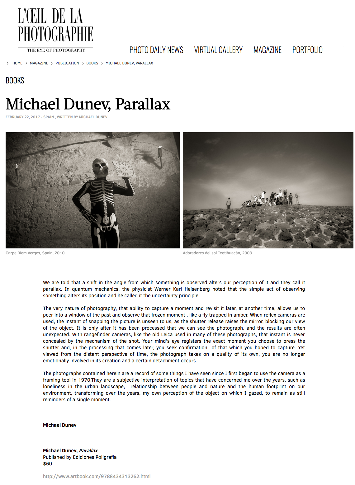 Press review about Parallax in L'Oeil de la Photographie